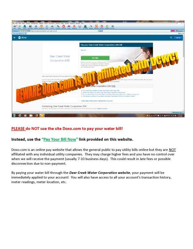 DOXO com Warning | Deer Creek Water Corporation